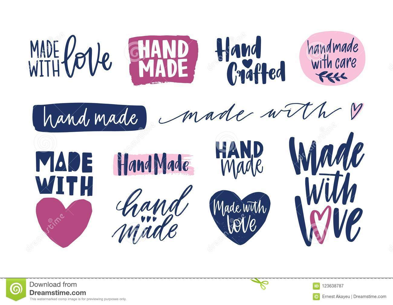 Collection Of Hand Made Inscriptions For Labels Or Tags Of