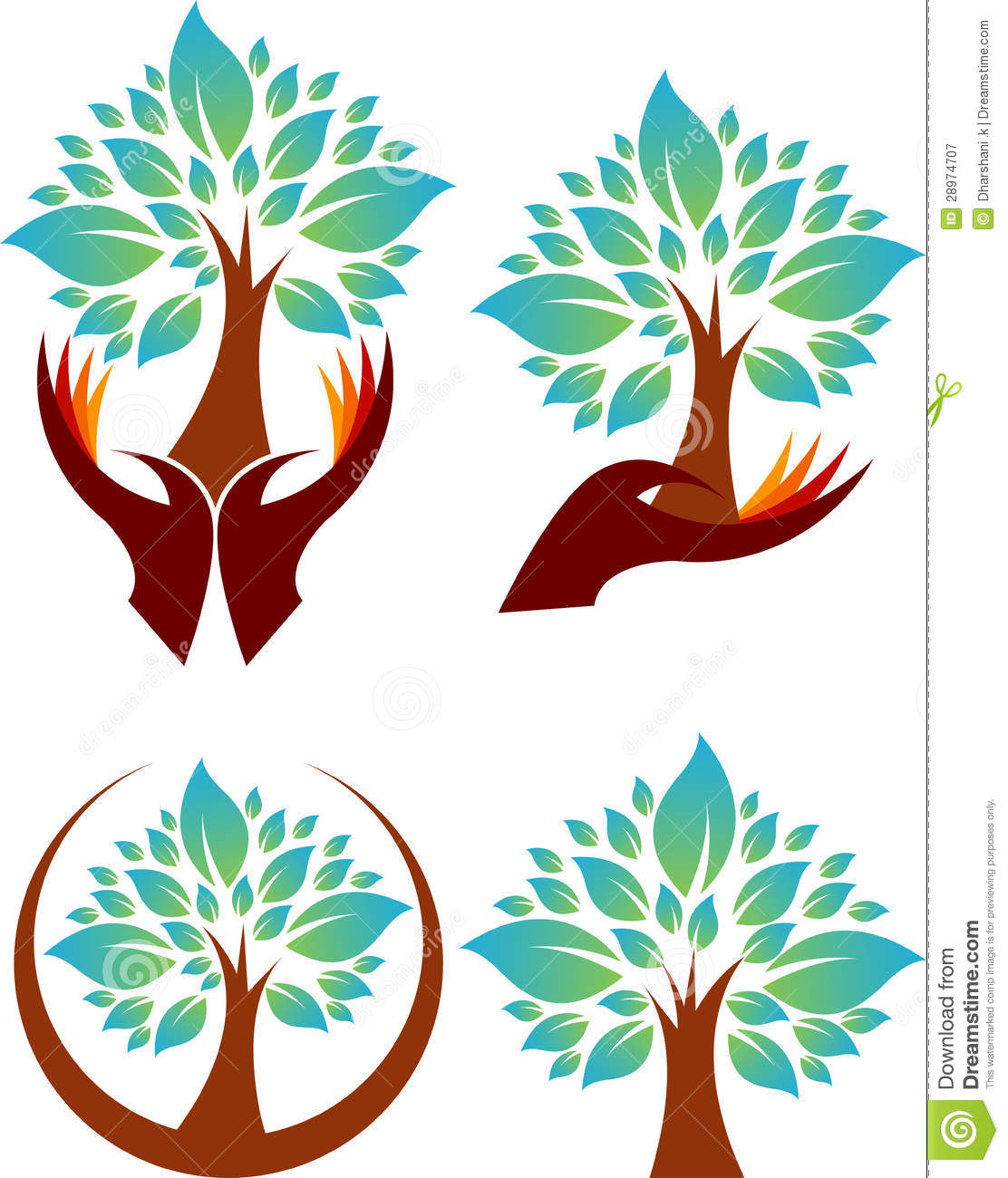 Collection Hand Tree Logos Stock Vector Illustration Of Decoration