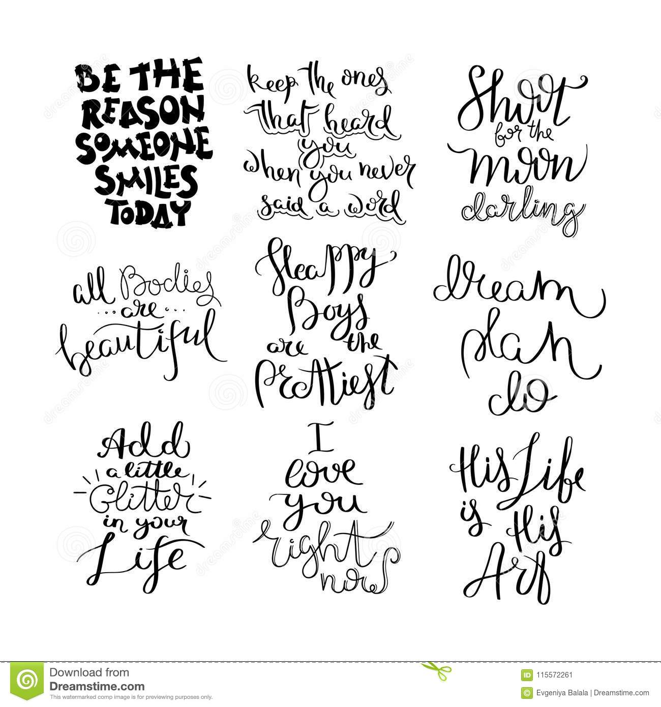 Hand Written Calligraphy Quote Motivation For Life And Happiness