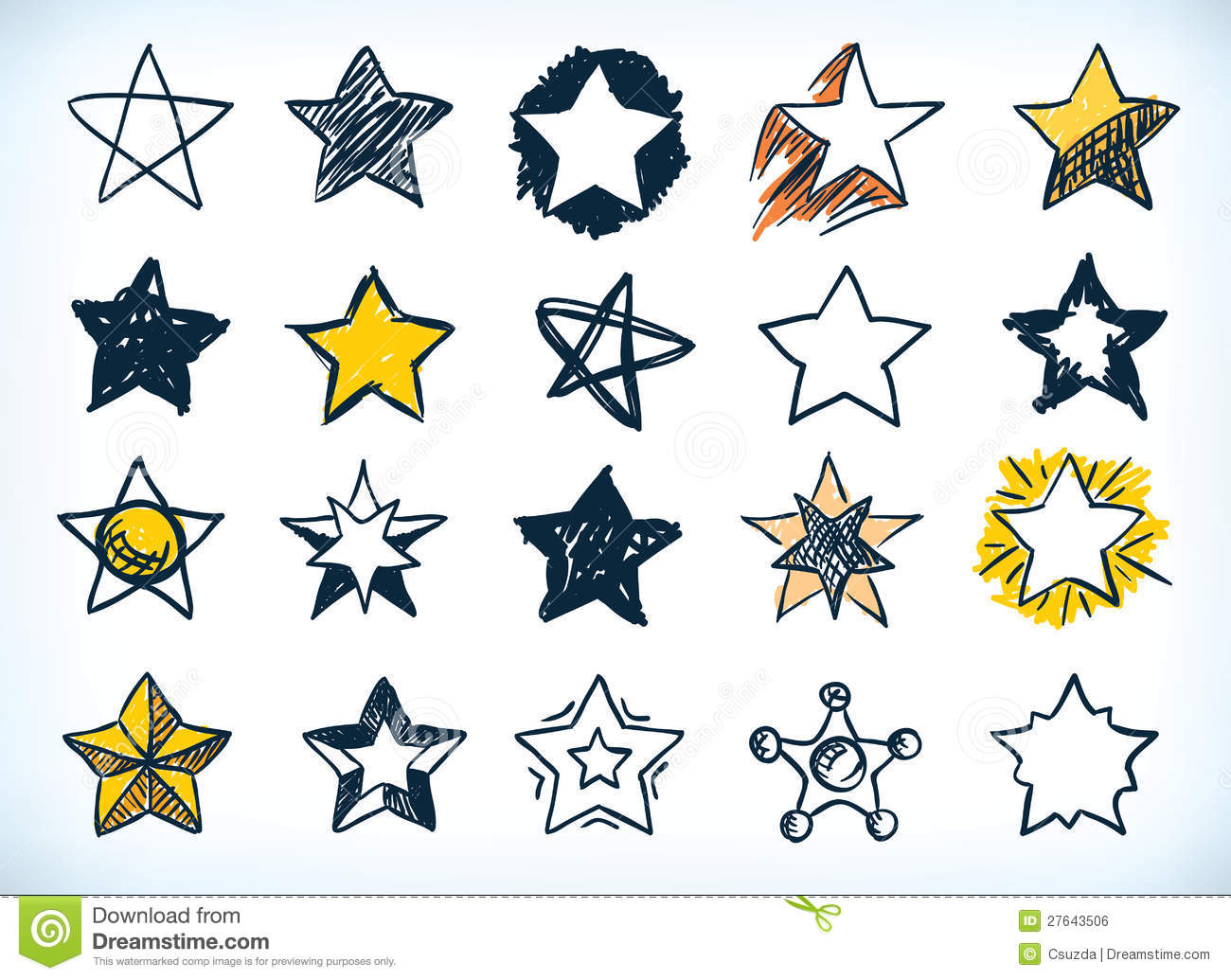Collection of sixteen handdrawn pen and ink stars in various shapes ...