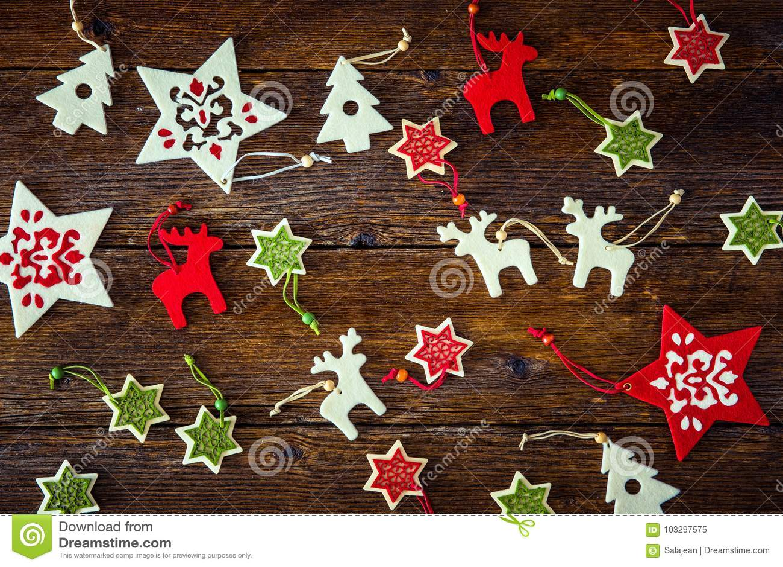 Collection of handmade Christmas ornaments