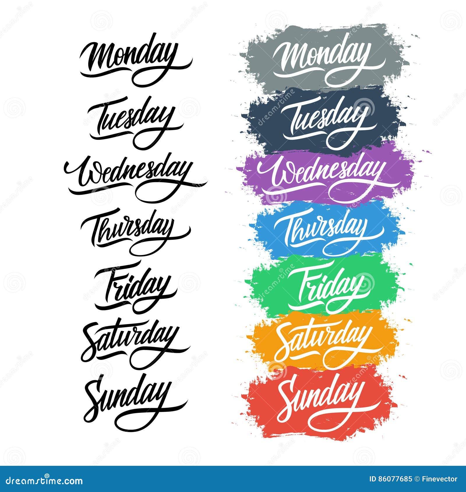 Handwritten week days calligraphy royalty free stock