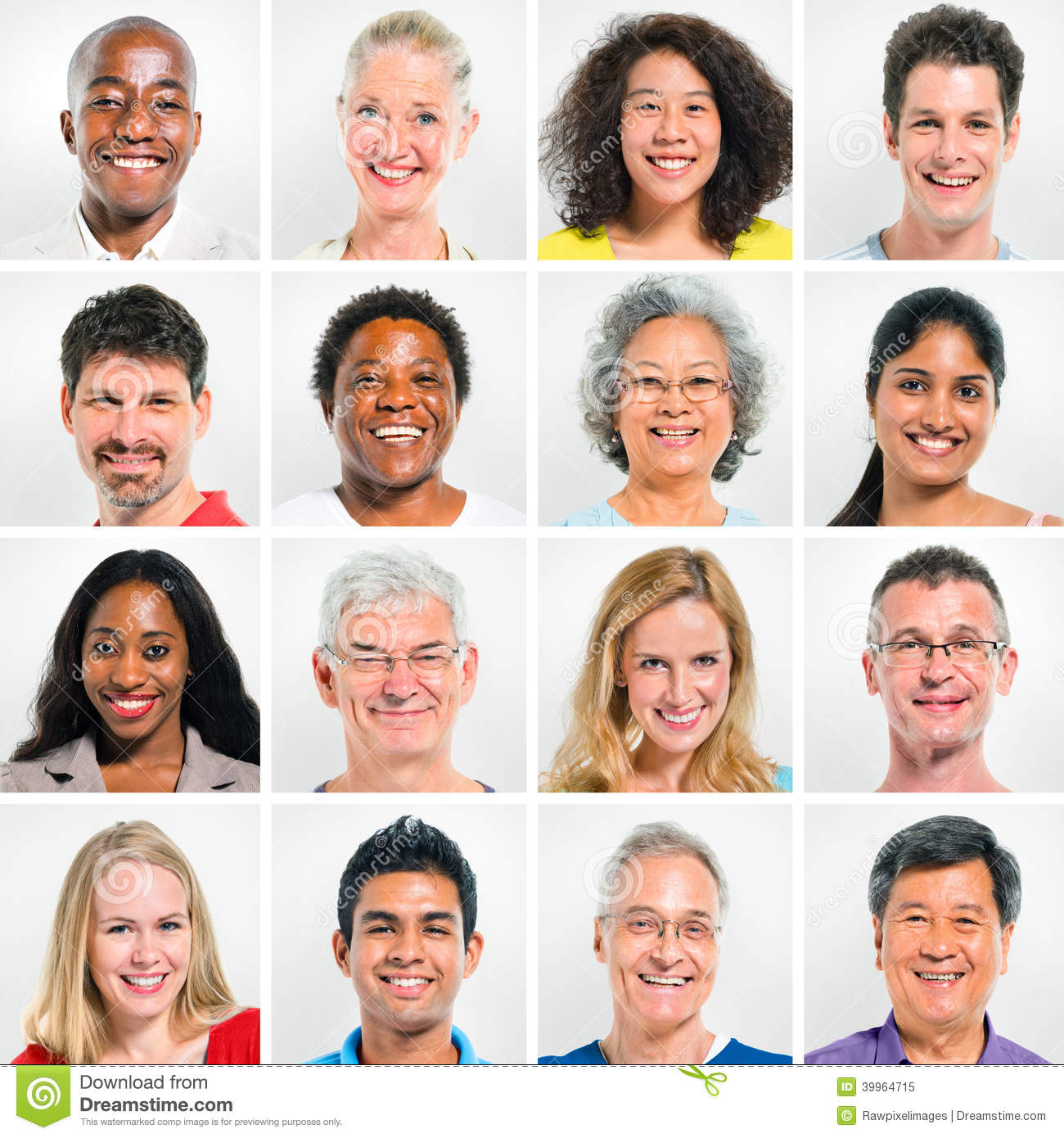 Collection Of Happy Multi-Ethnic People Stock Photo ...