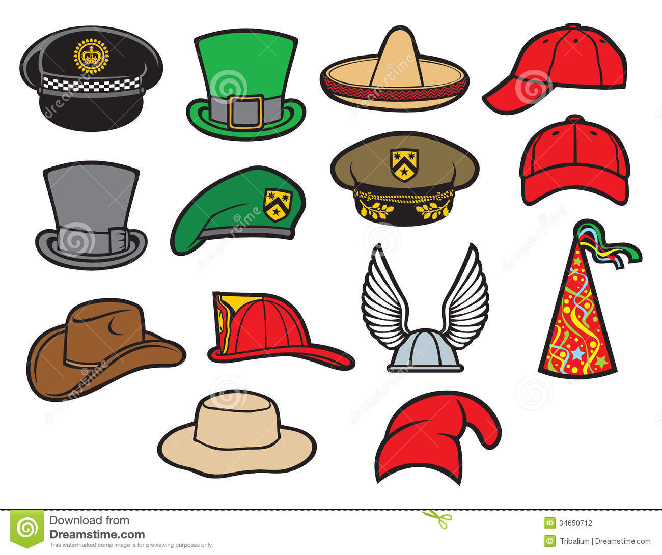 collection of hats stock photography image 34650712