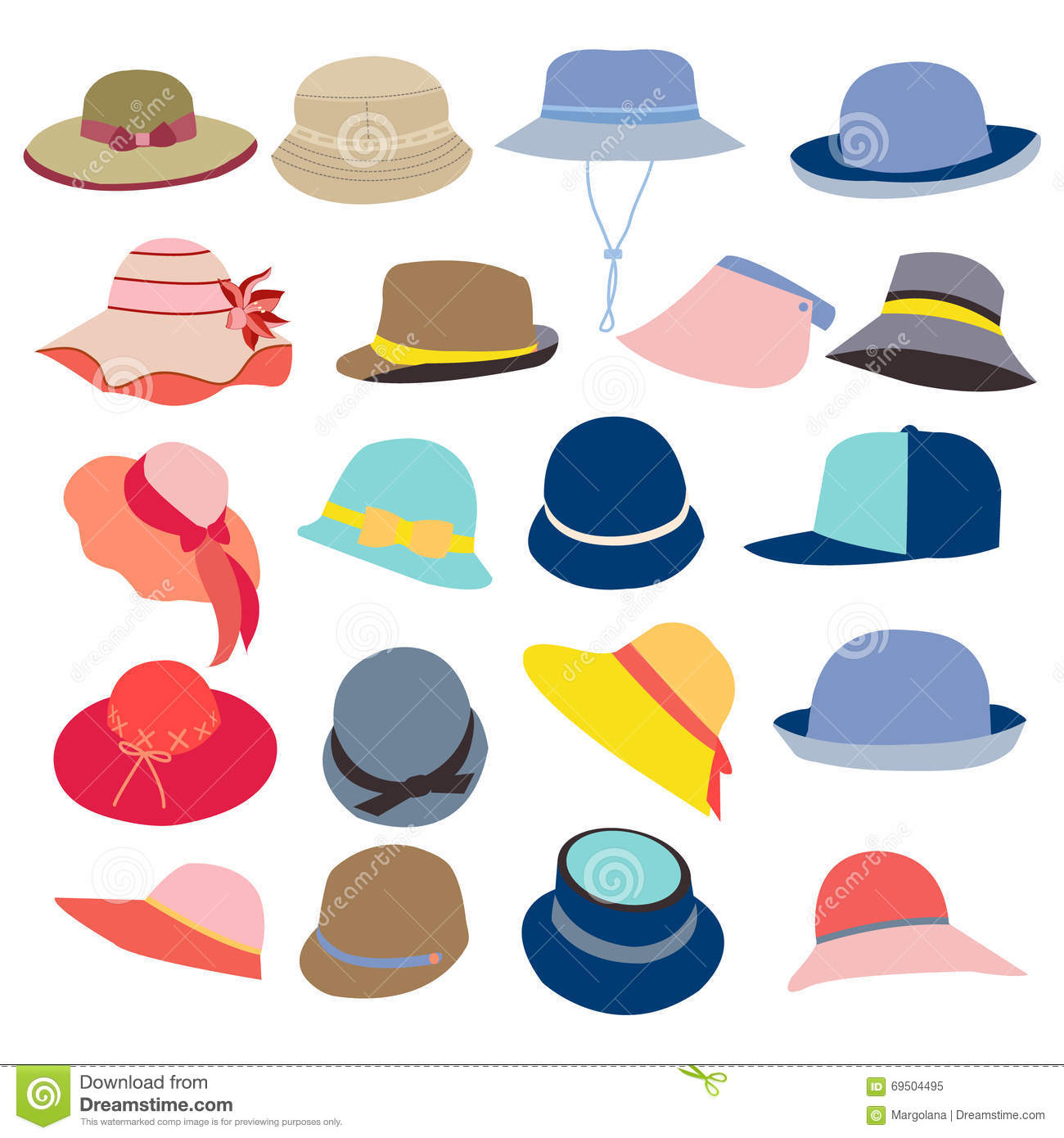 collection of hats for and stock vector image