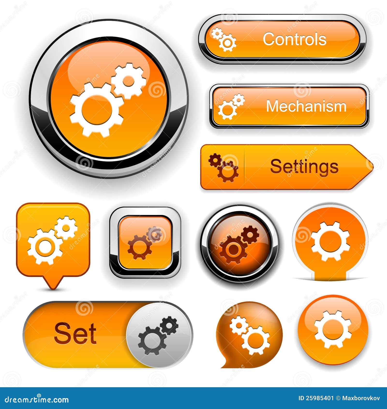 Collection haut-détaillée de bouton de Web de configurations.