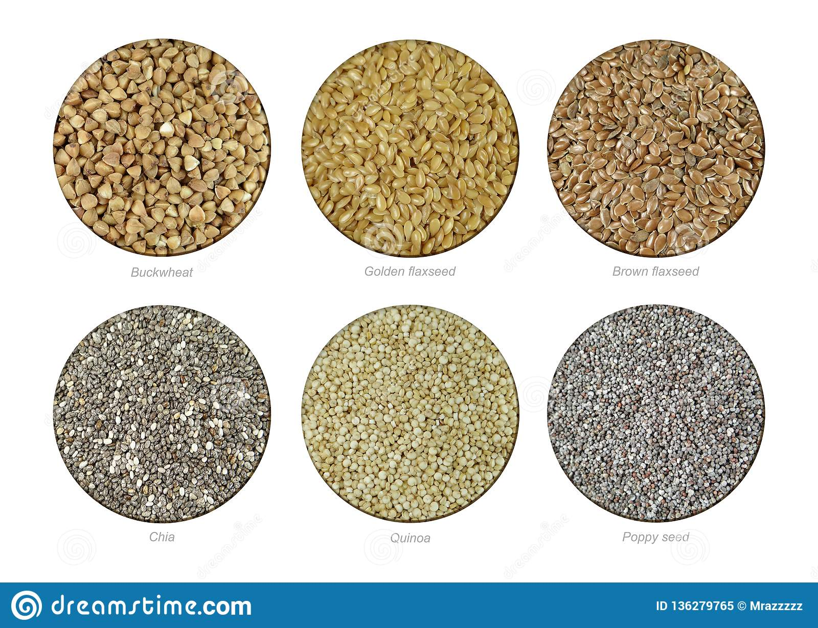 Set of Buckwheat, Golden Flaxseeds, Brown Flaxseeds, Chia, Quinoa and Poppy seeds