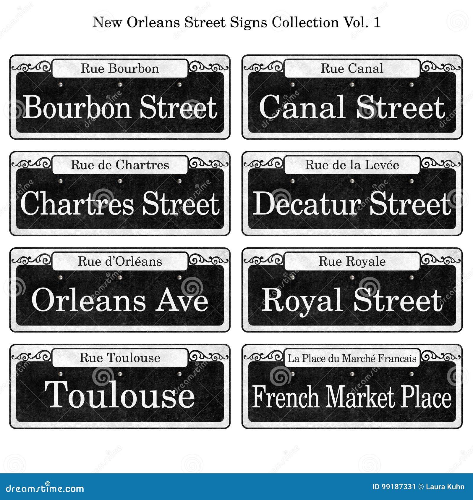 Collection historique de plaques de rue de la Nouvelle-Orléans