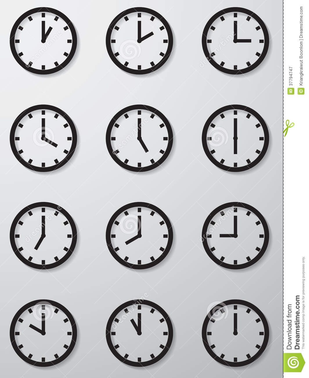 Collection Of 12 Hours Clock Face Icon. Royalty Free Stock Photography ...