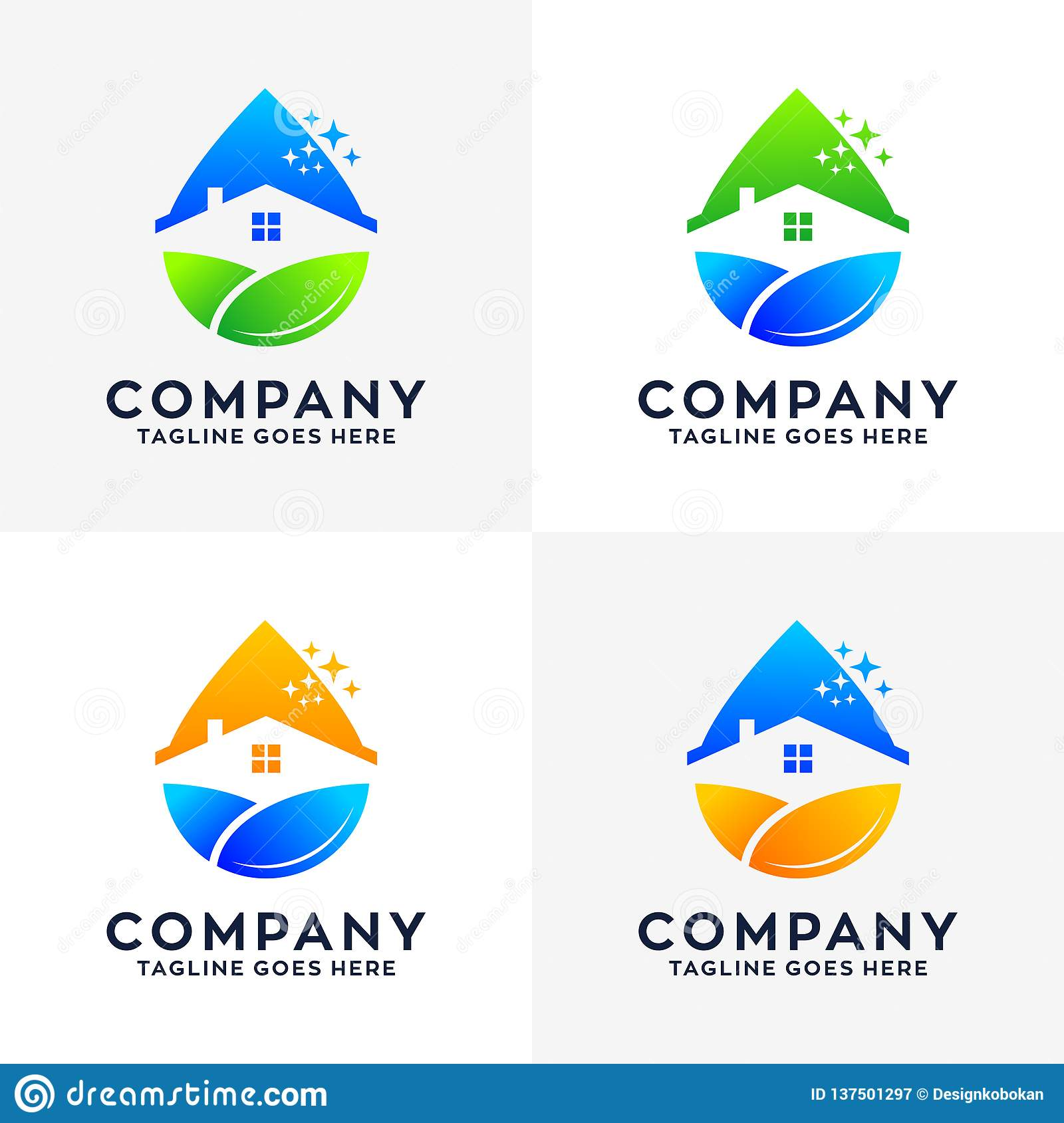 Collection of House Cleaning Logo Design