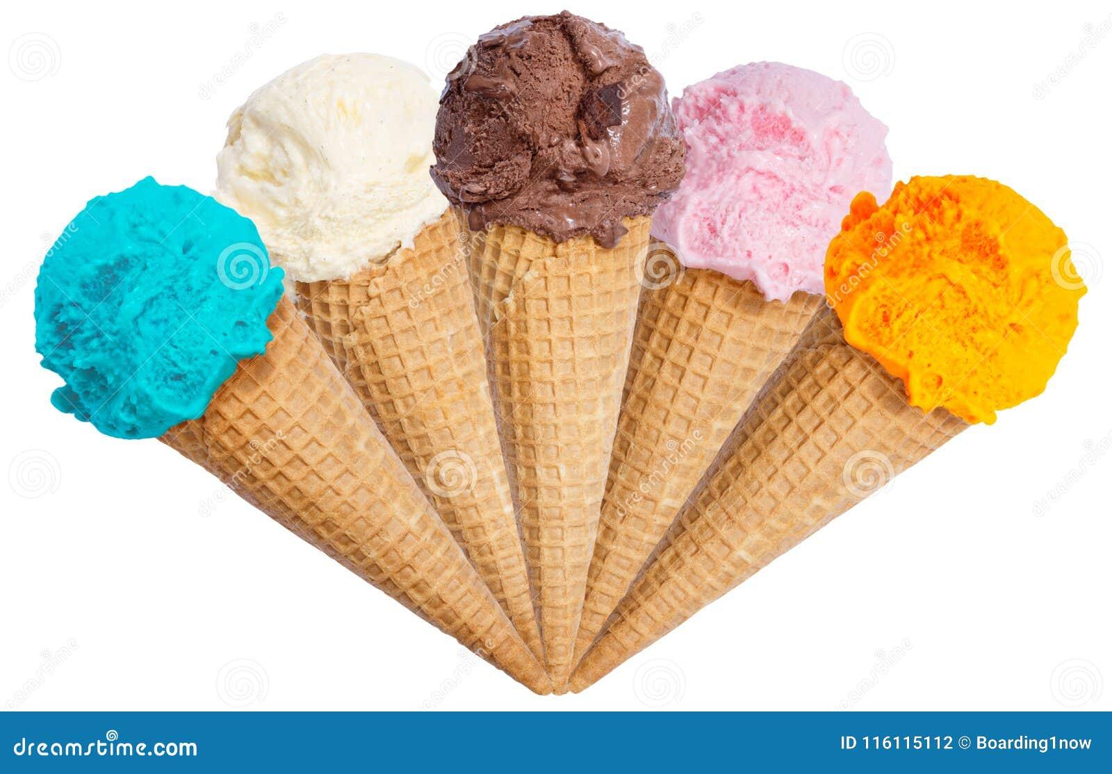 Collection of ice cream scoop sundae cone icecream isolated on w