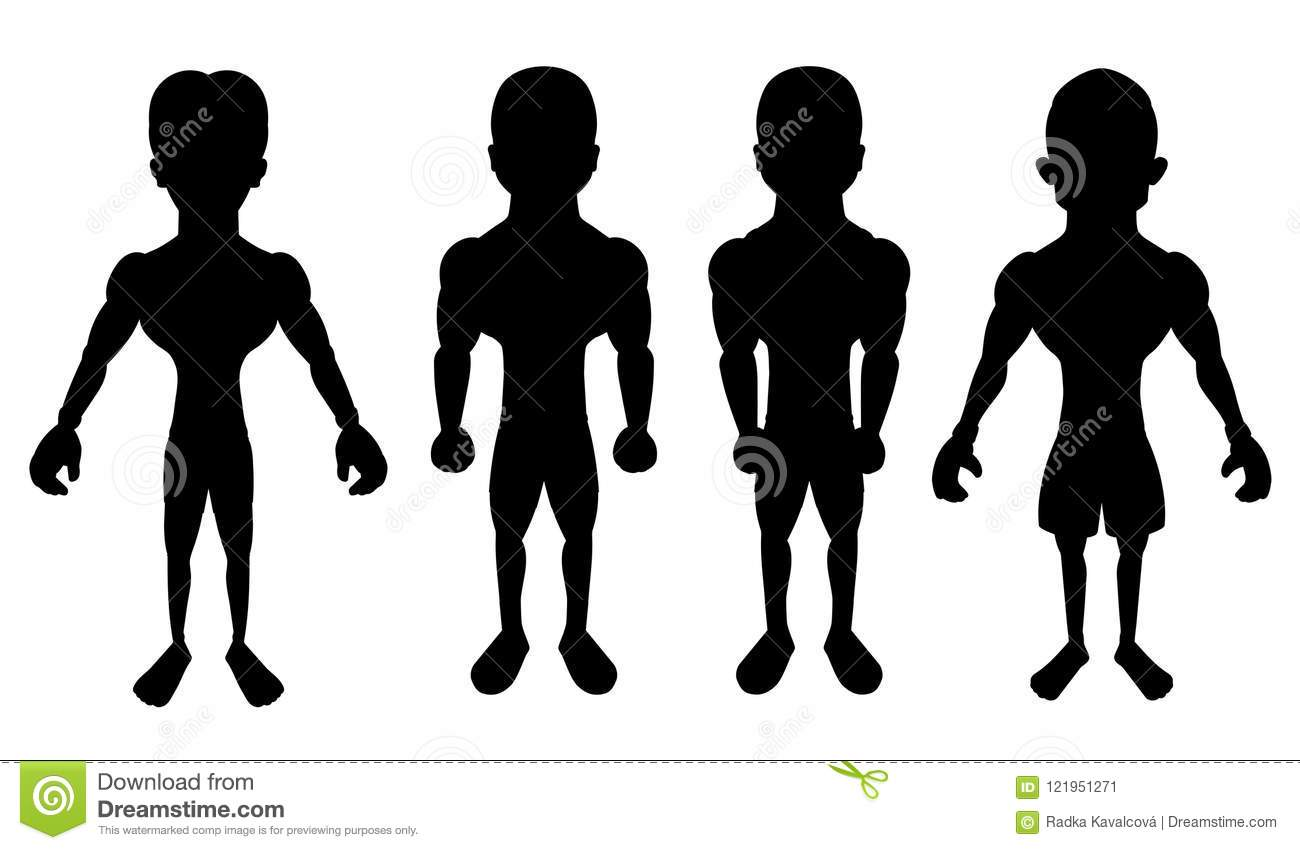 Collection of cartoon silhouettes of atheletes
