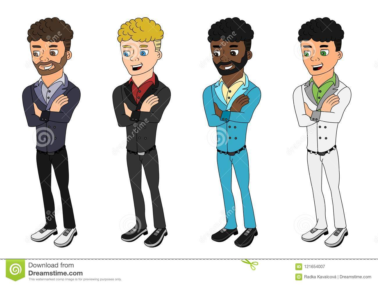 Diverse curly haired men cartoon