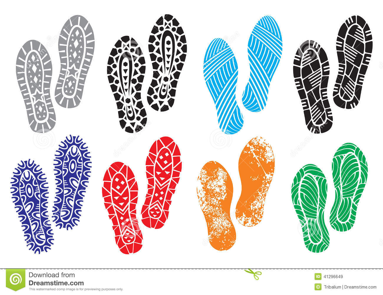 The Collection Of A Imprint Soles Shoes Stock Vector - Image: 41296649