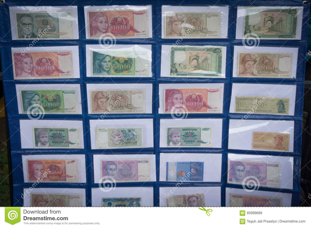 Collection of Indonesia`s paper money displayed in a museum photo taken in Bogor Indonesia
