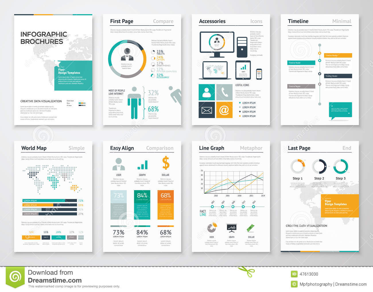Collection Of Infographic Brochure Vector Elements For Business ...