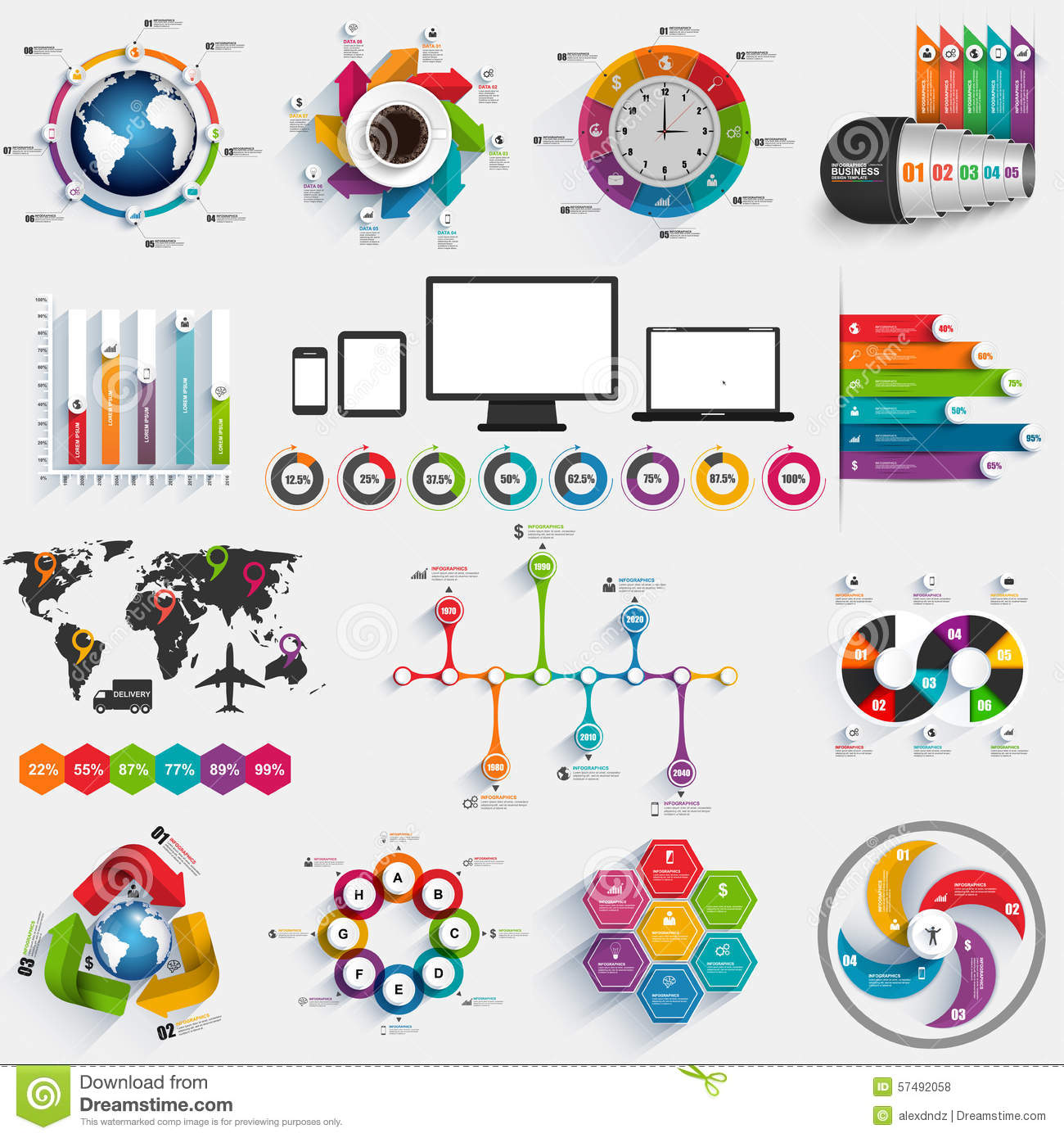 collection of infographic vector design template stock vector