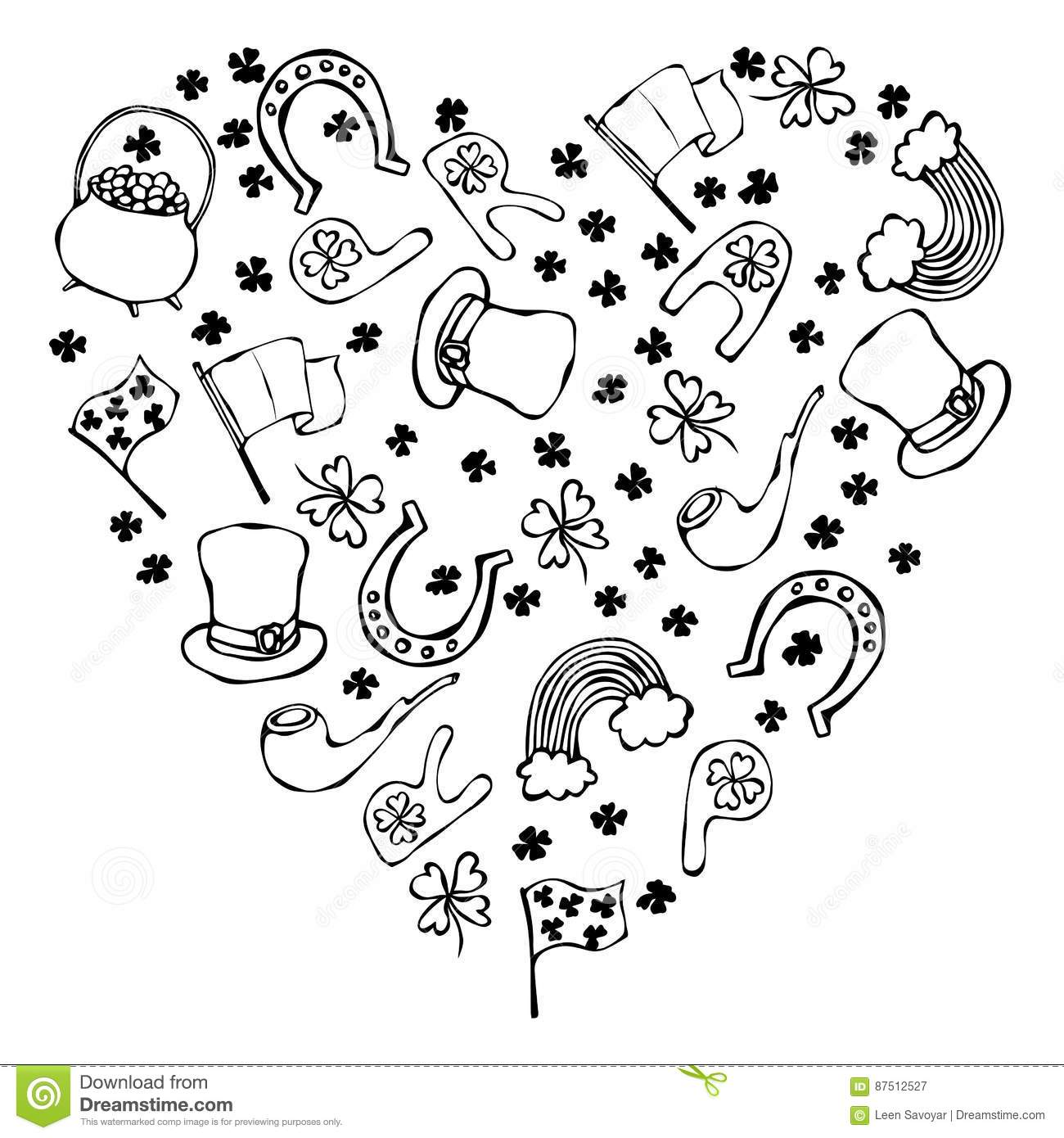 Collection Of Irish Symbols Outline Heart Shape Background Stock