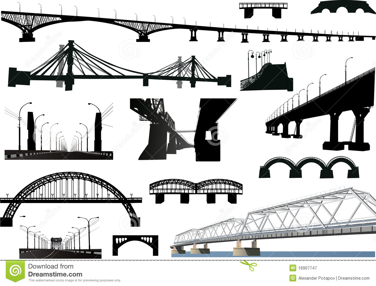 Collection Of Isolated Bridges Royalty Free Stock