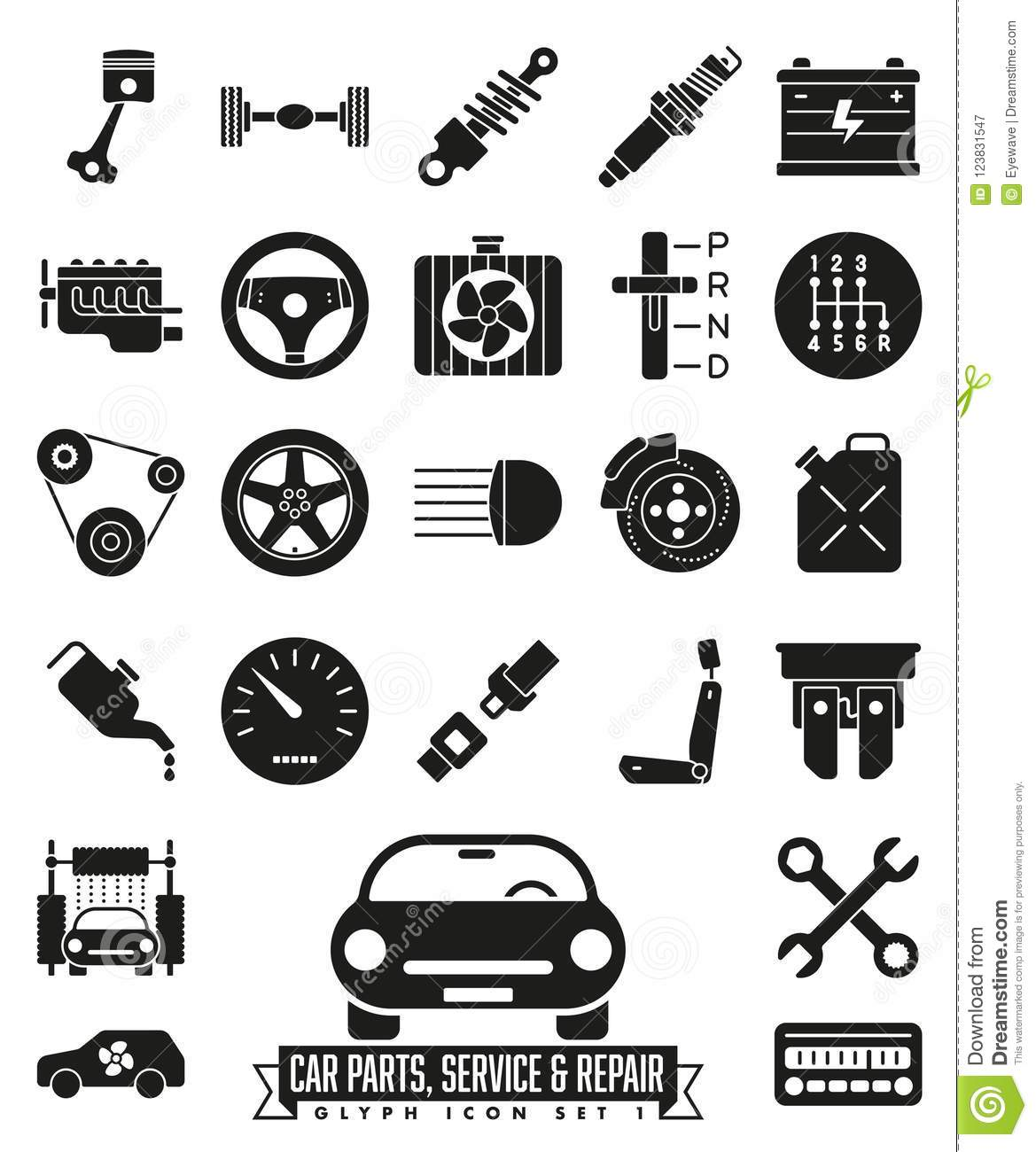 Car Parts Service And Repair Glyph Icon Set Stock Vector Illustration Of Steering Symbol 123831547