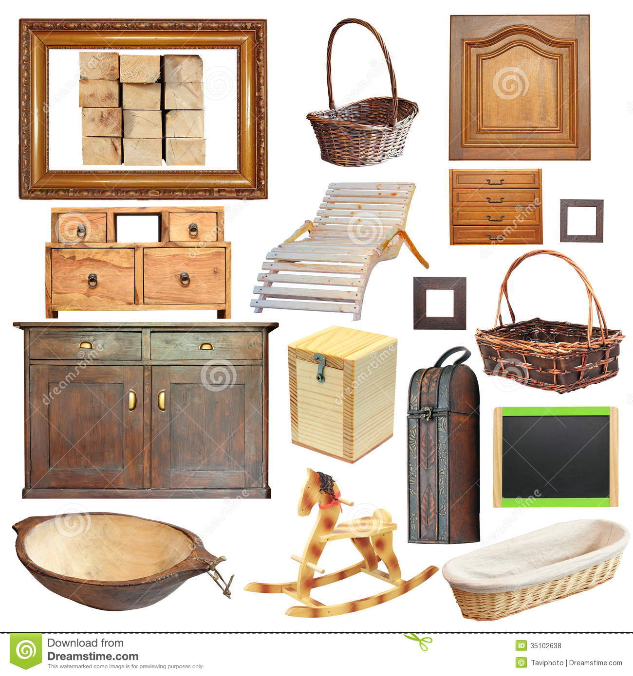 Collection of isolated old wooden objects stock photo for Old objects