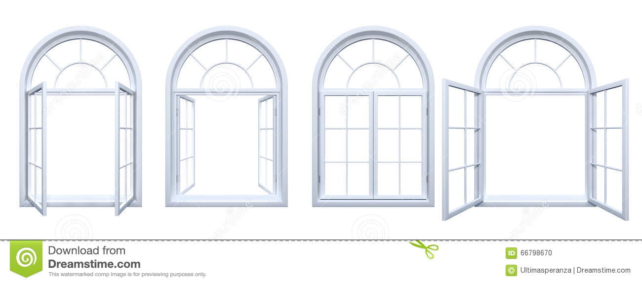 Collection of isolated white arched windows stock for How to decorate an arched window