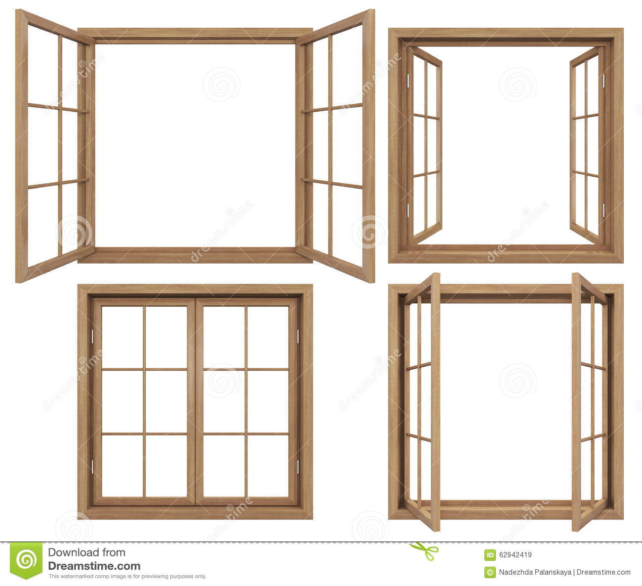 Collection Of Isolated Wooden Windows Stock Image - Image of ...