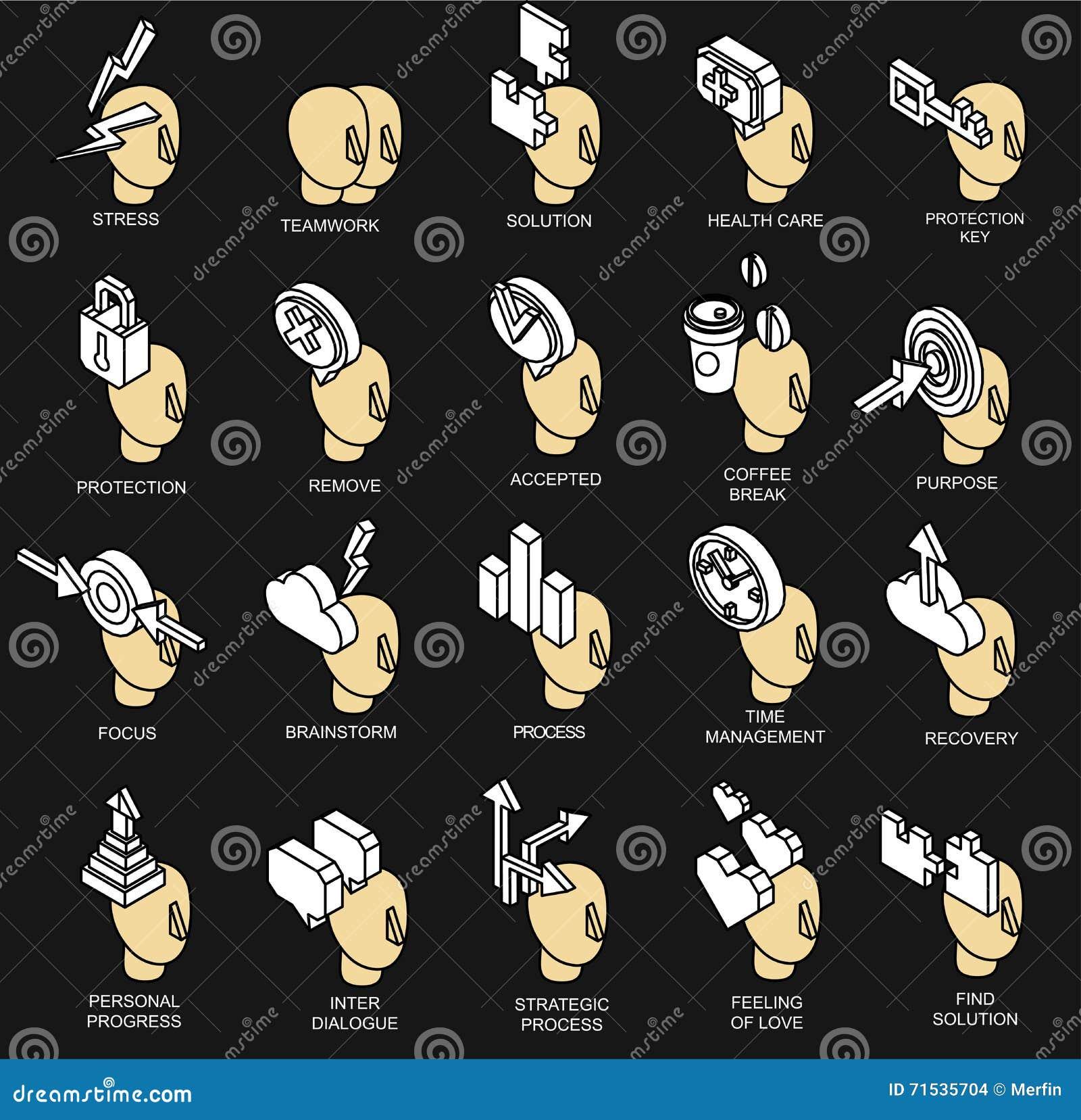 Collection isométrique d icônes du processus d esprit humain
