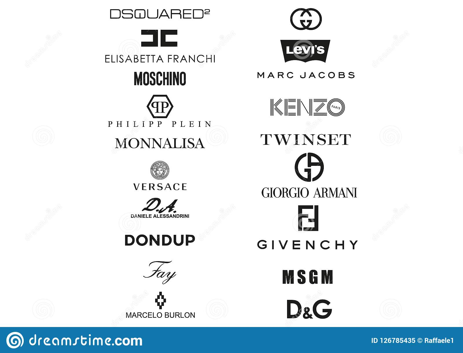 Collection of Italian clothing houses logos
