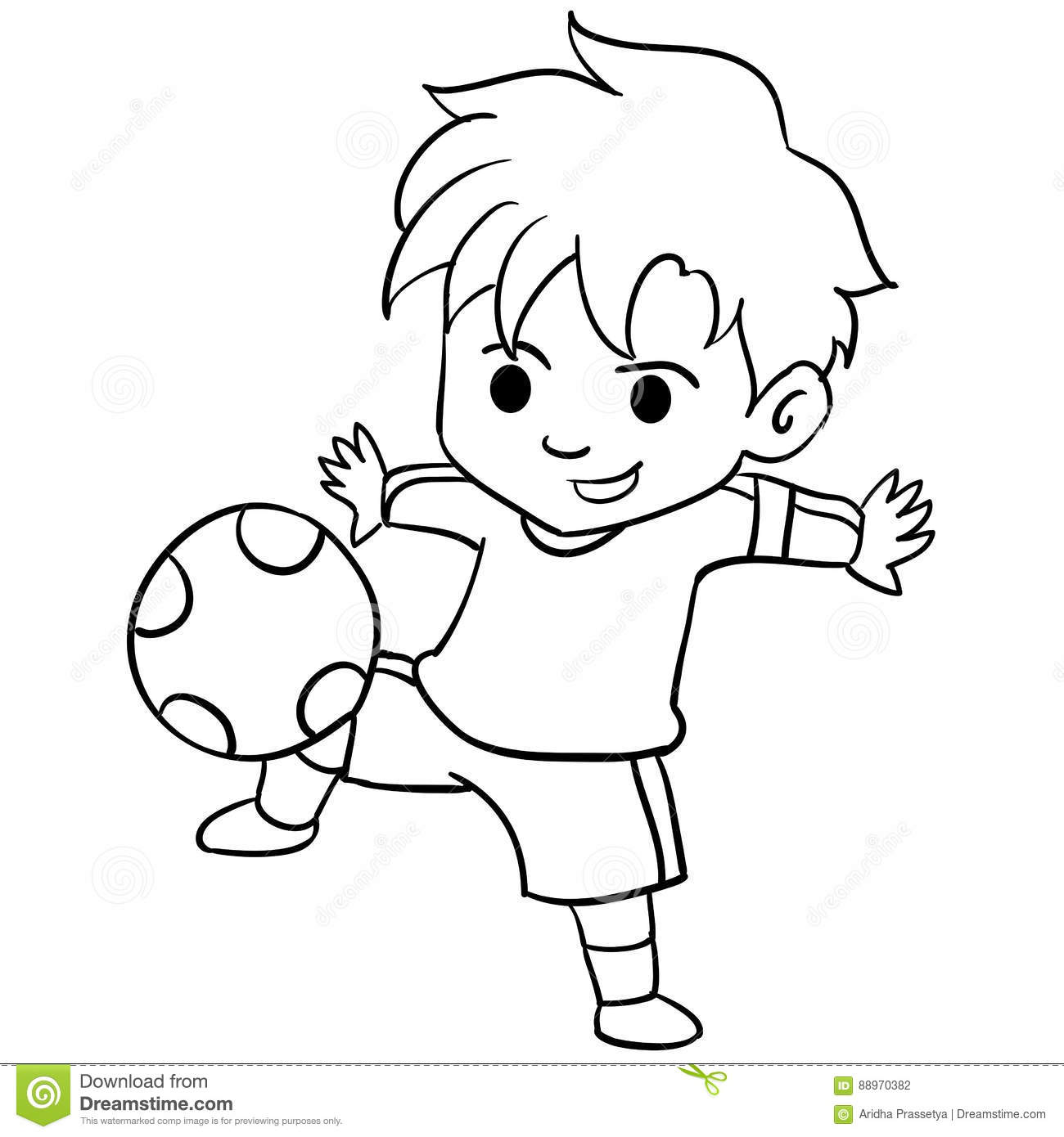 Collection Of Kid Playing Football Stock Vector Illustration Of Childlike Cartoon 88970382