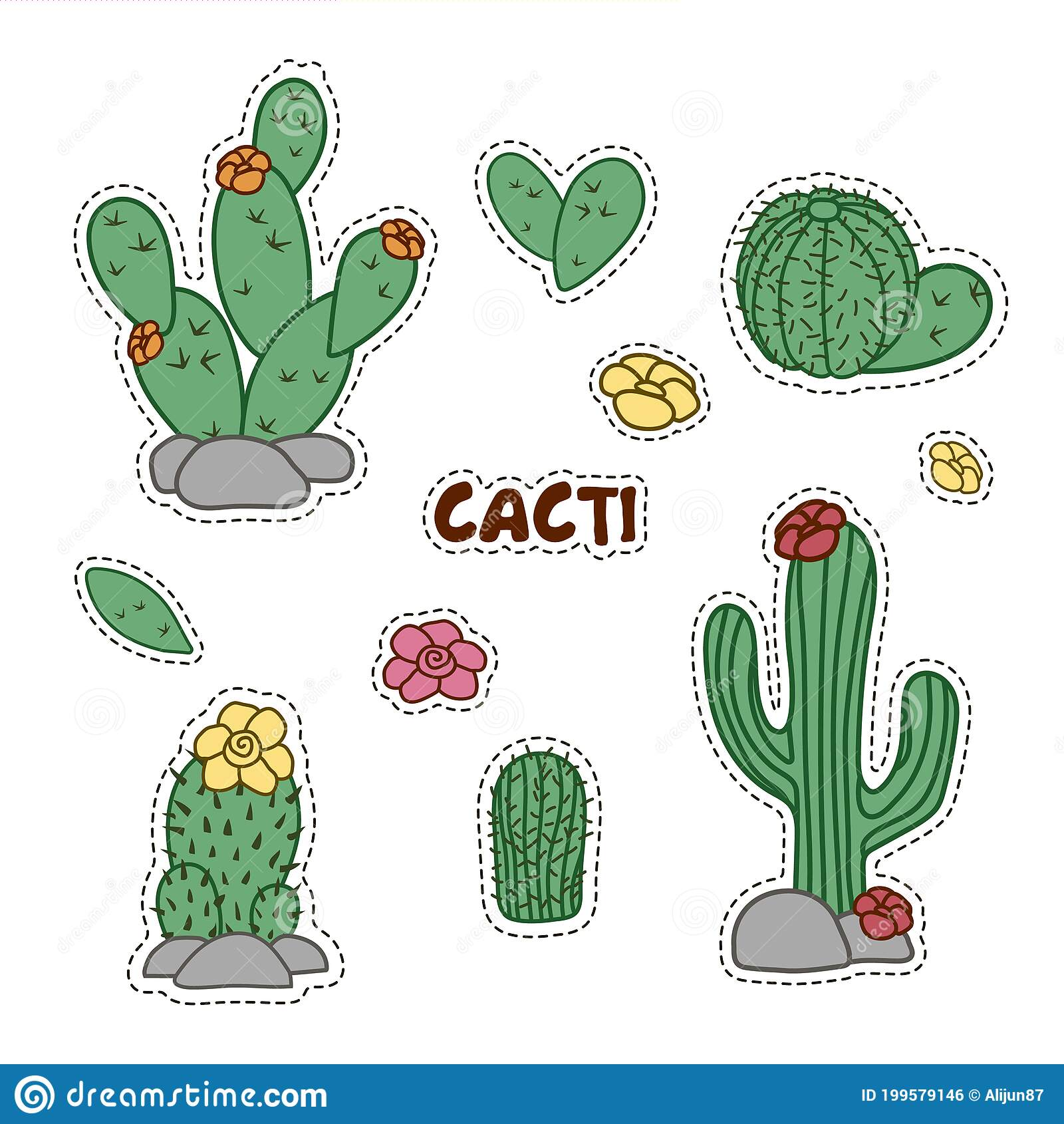Collection Of Labels With Cacti Set Of Hand Drawn Cactus And Succulent Plant Stickers Stock Vector Illustration Of Drawing Desert 199579146