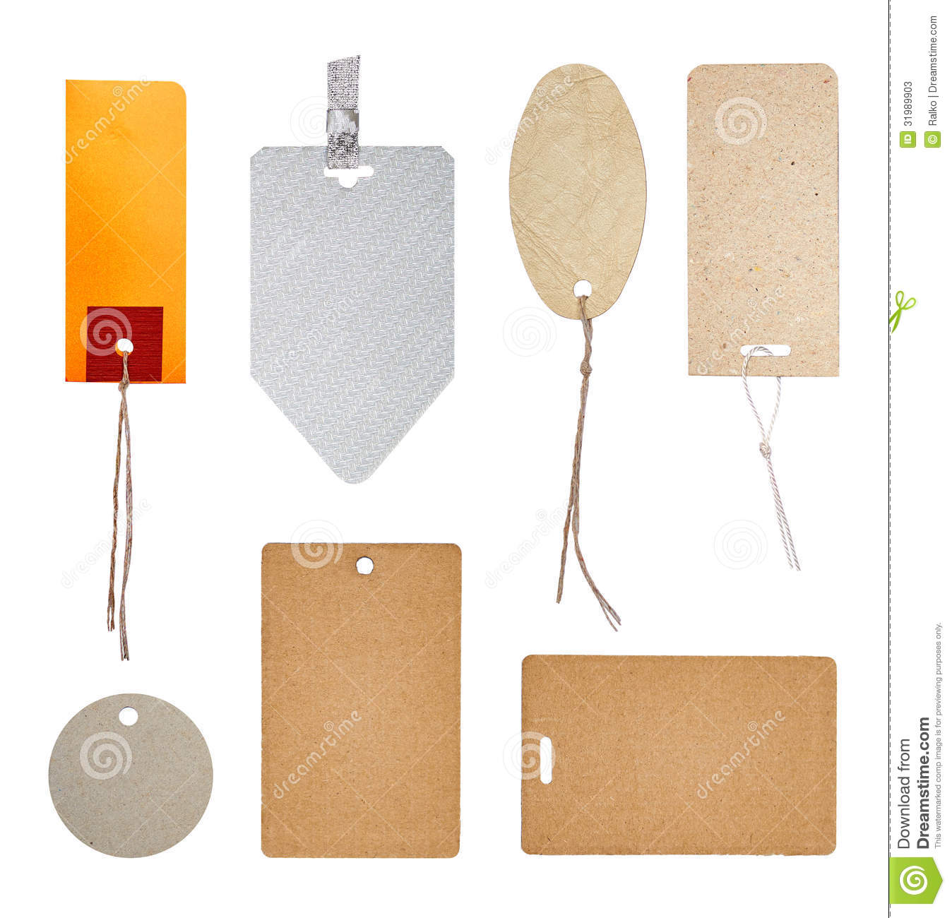 collection of labels and price tags stock image image of leather