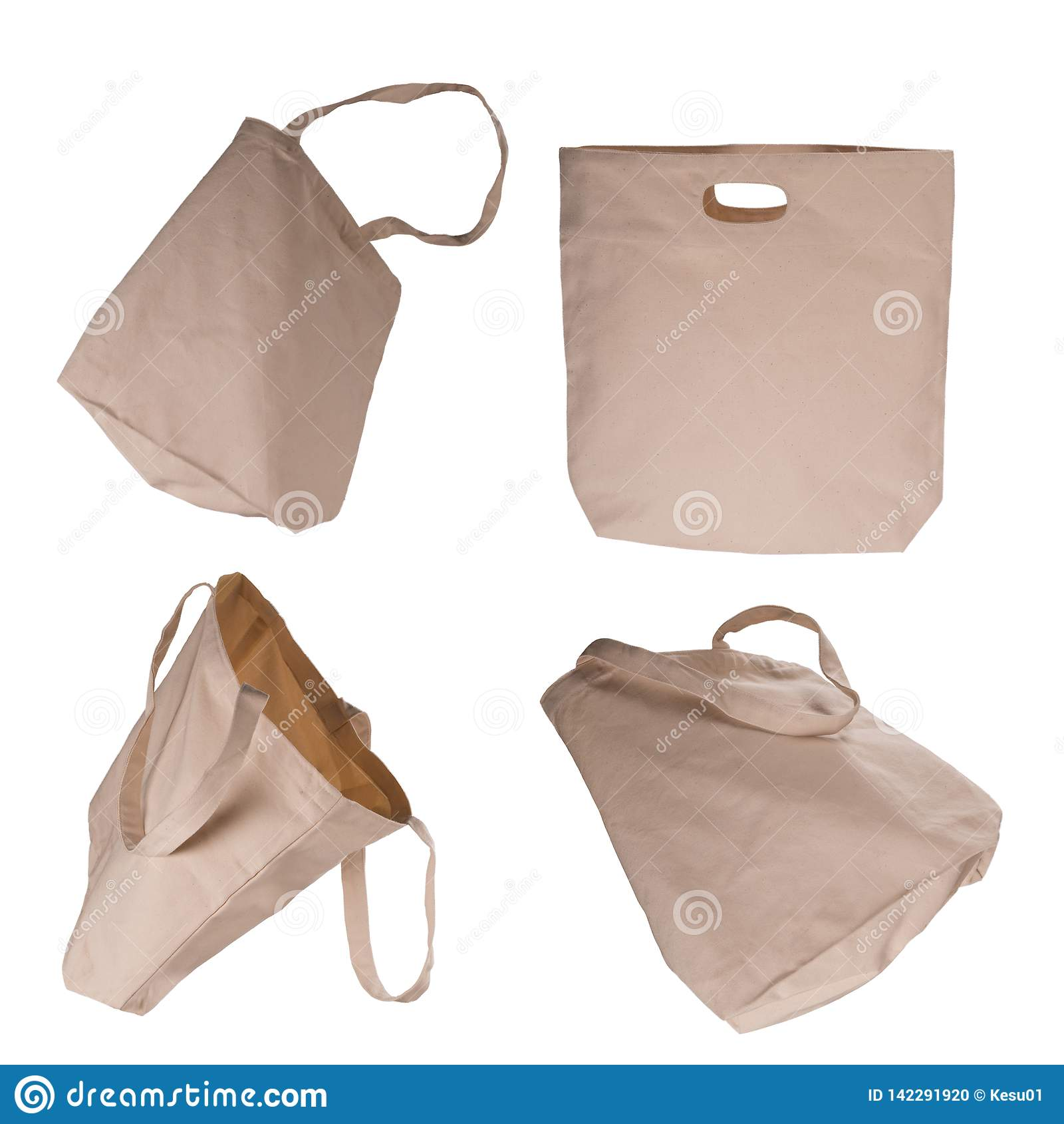 Collection of light beige cotton bags on white background.