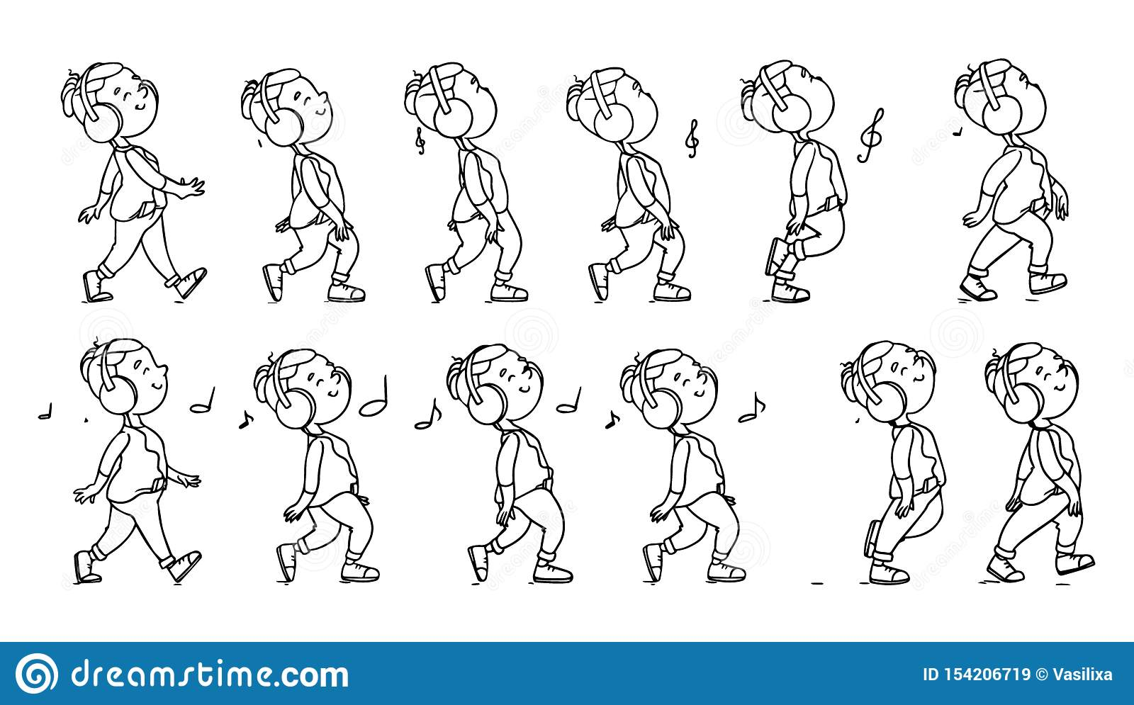 Collection Of Listening To Music Teenager Icons Animation Sprite Set Frame Loop Dance Music Flat Cartoon Style Stock Illustration Illustration Of Positive Cassette 154206719