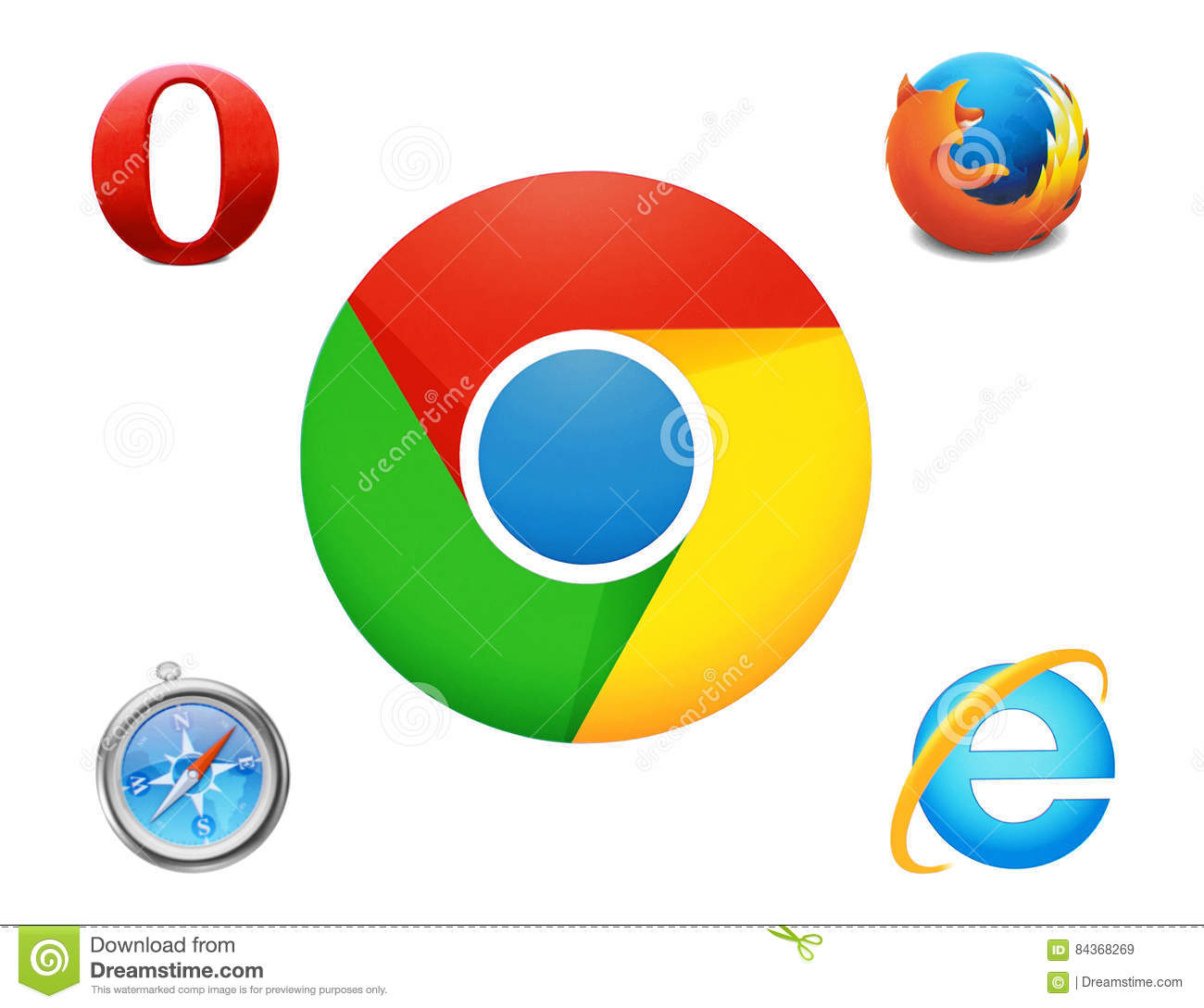 Collection Of Logos Google Chrome And Others Browsers Editorial