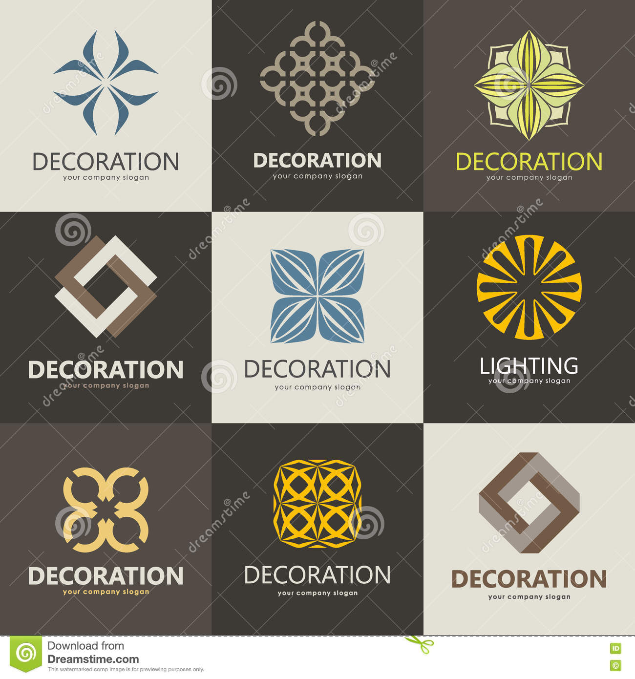 A collection of logos for interior furniture shops Decorating items shop near me