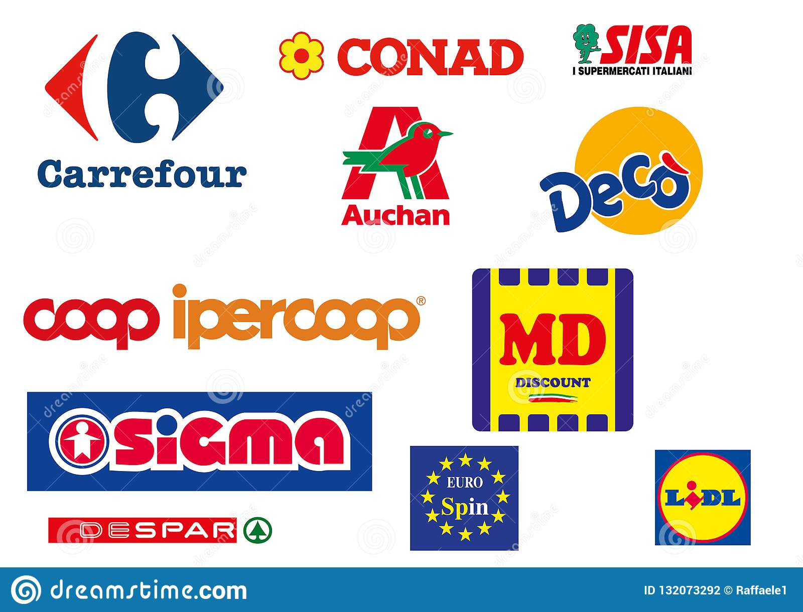 Collection Of Logos Of The Most Popular Supermarkets In Italy