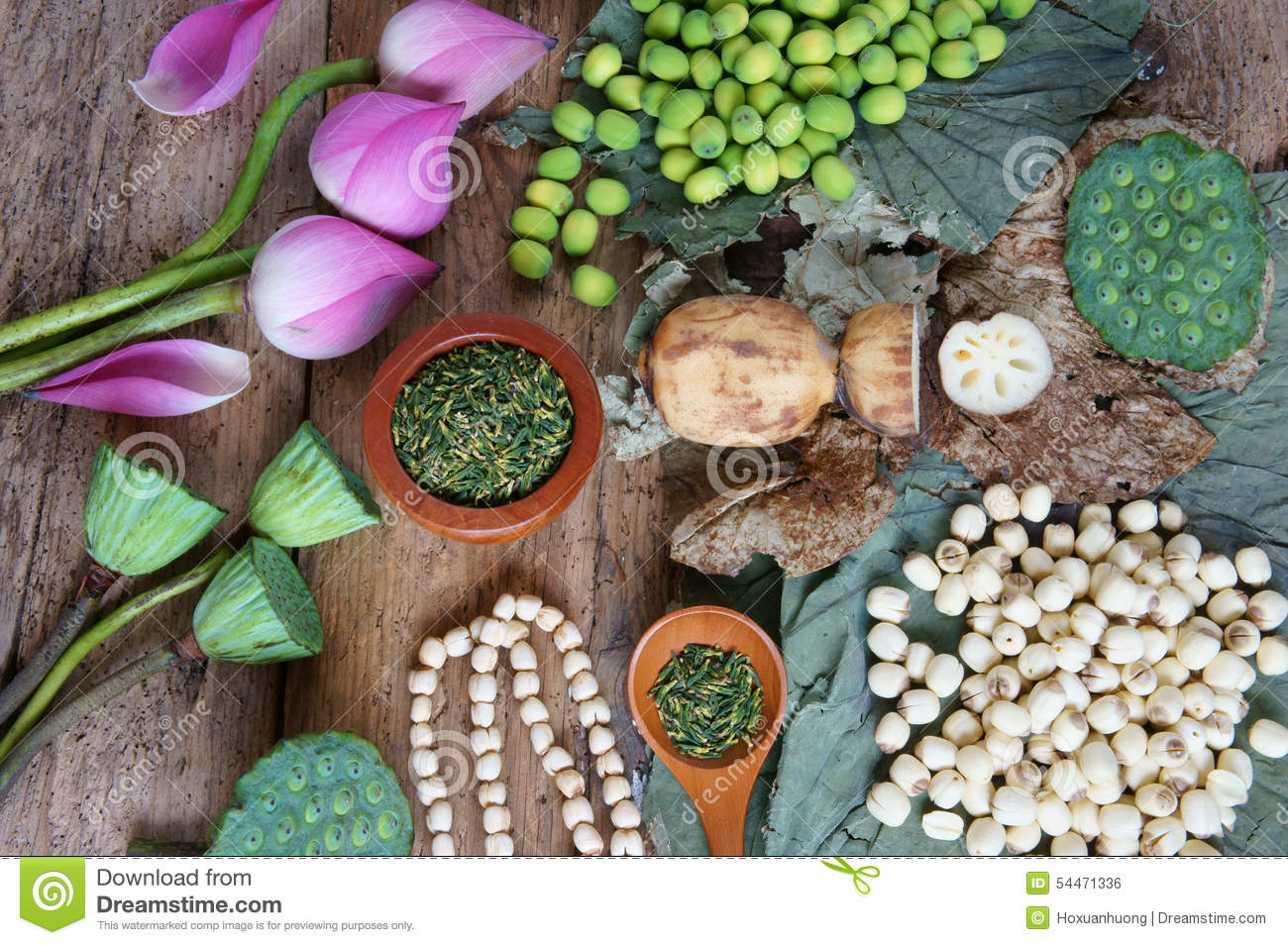 Collection Lotus Flower Seed Tea Healthy Food Stock Photo Image