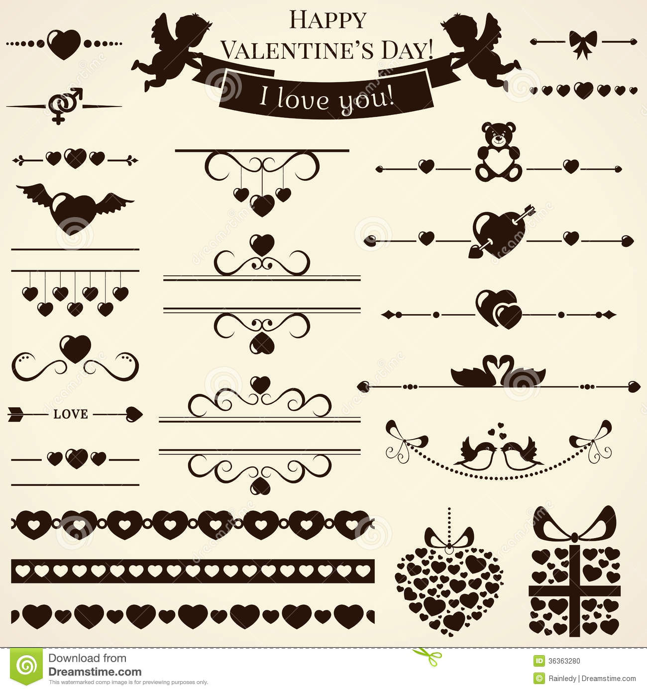 Collection Of Love Design Elements. Vector Illustr Stock Photo - Image ...