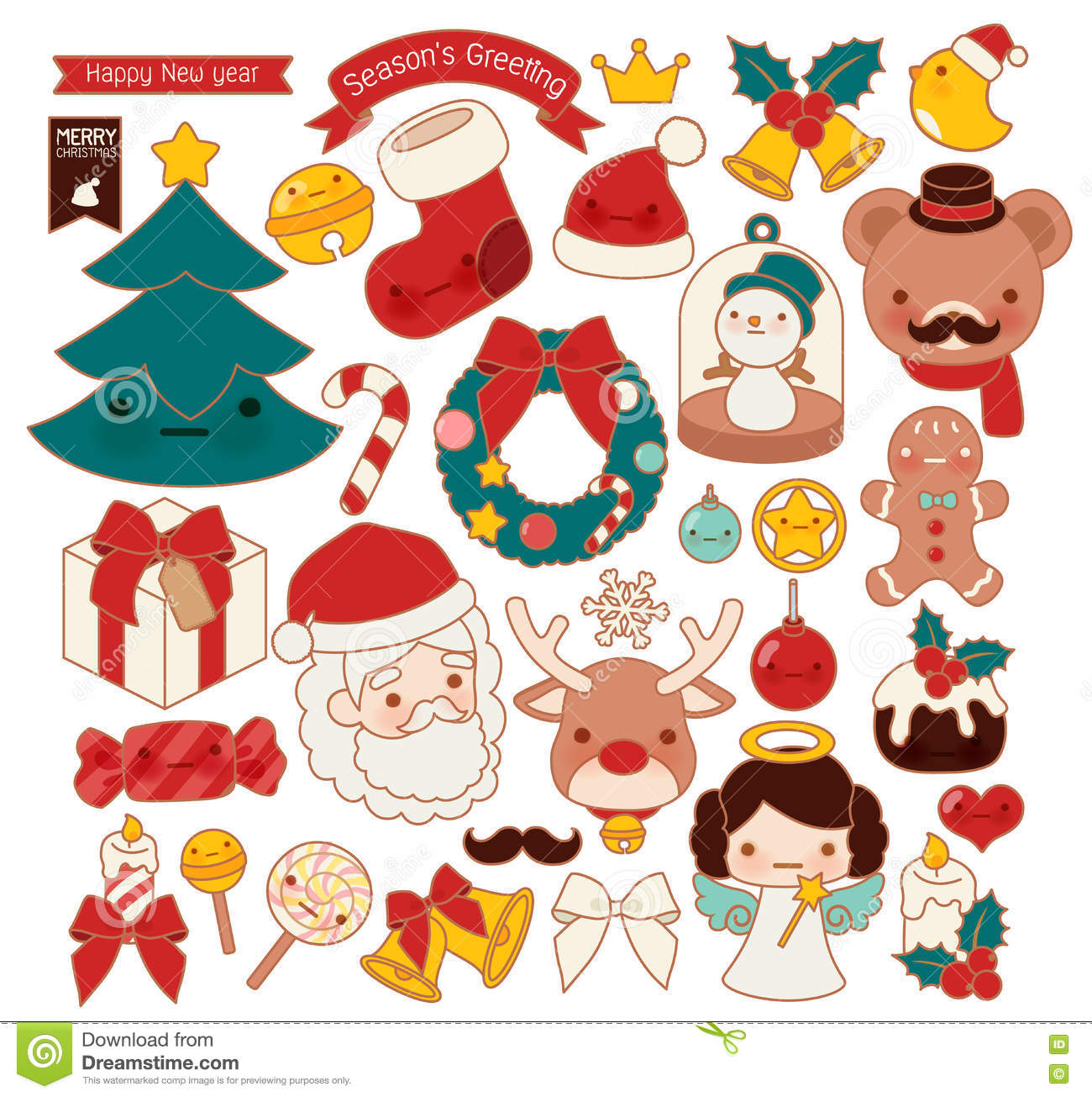 Collection Of Lovely Christmas Doodle Icon, Cute Snowman, Adorable ...