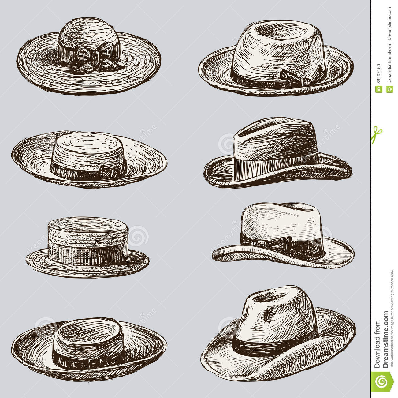 94e42c87 Collection Of The Male And Female Hats Stock Vector - Illustration ...