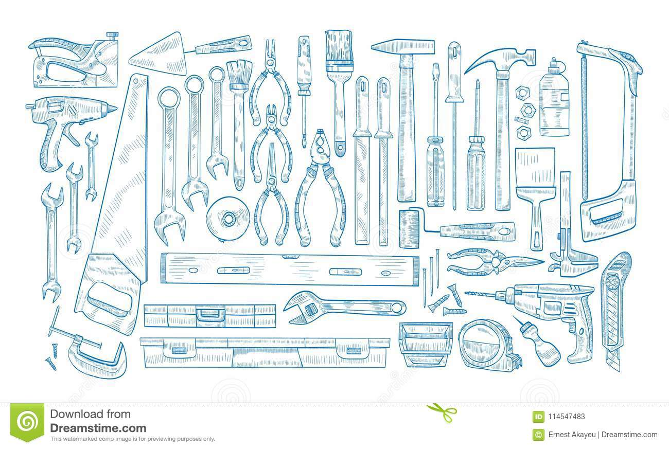Collection Of Manual And Powered Electric Tools For Woodworking