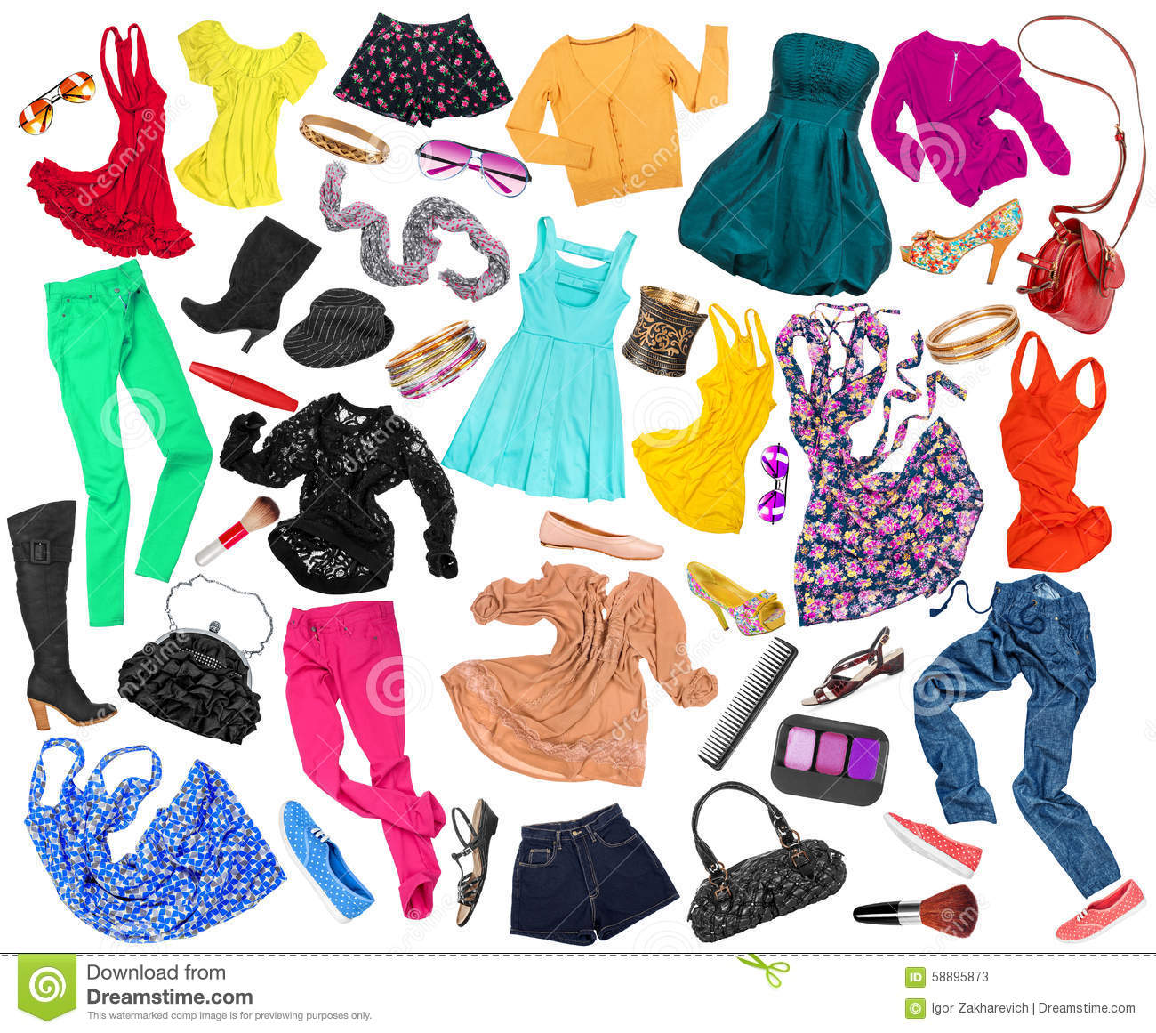 A Collection Of Many Different Styles Of Clothes Stock Photo Image 58895873