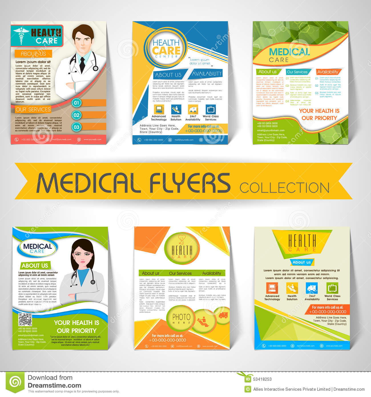 Collection of medical flyers templates and banners stock for Free templates for brochures and flyers