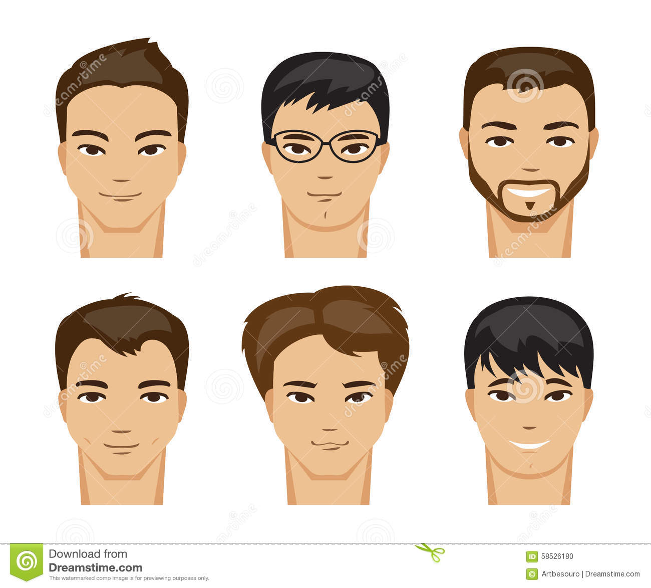 Collection Of Men With Different Hairstyles Vector Illustration Stock