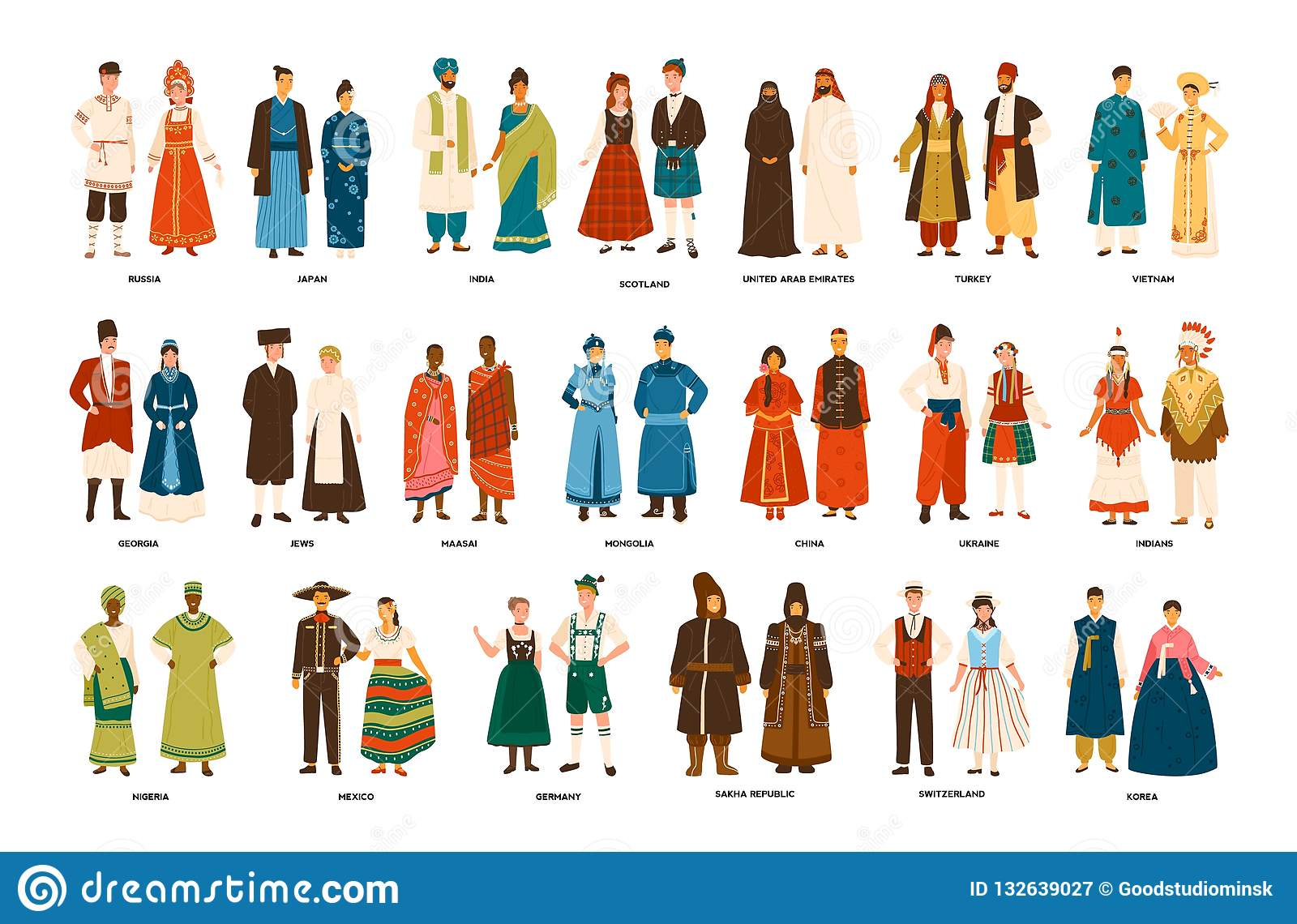 8589fae1b Collection of men and women dressed in folk costumes of various countries  isolated on white background