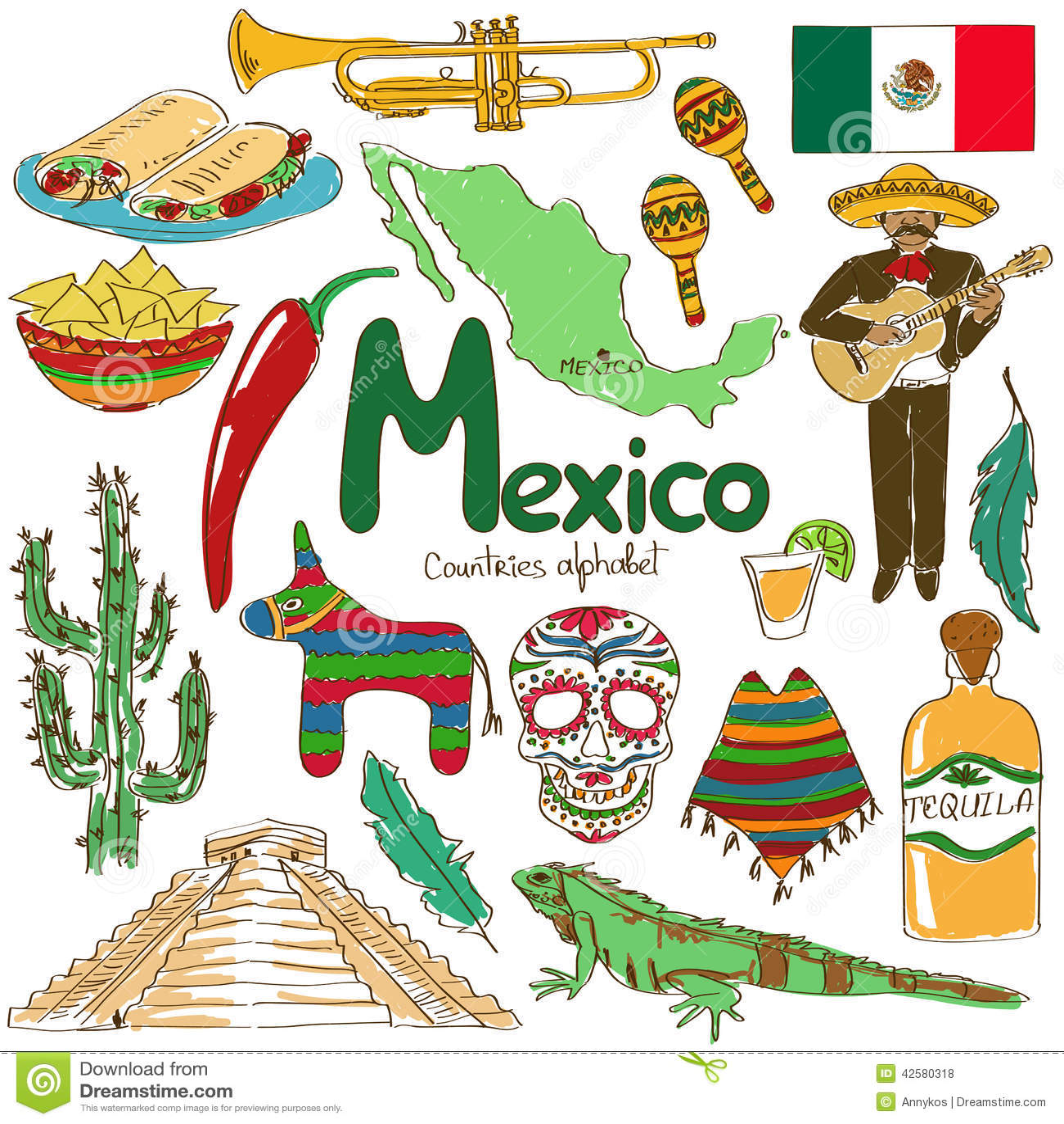 Collection of Mexico icons Mexico Country Vector