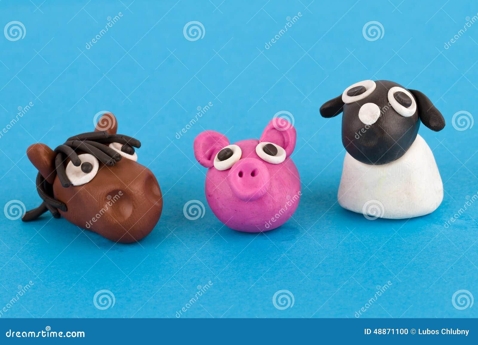 collection mignonne d animaux de ferme de p 226 te 224 modeler porc cheval mouton illustration