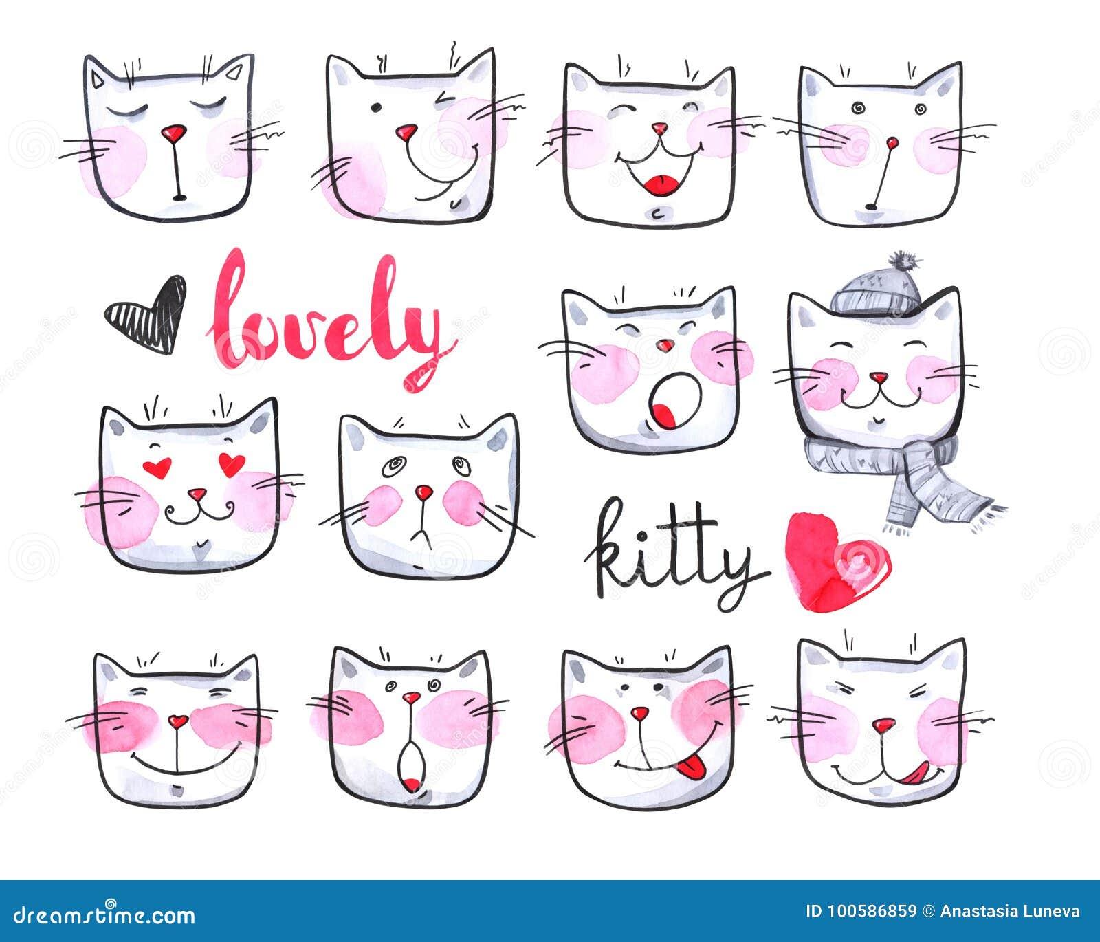 Collection mignonne d aquarelle de chats chatons beaux Illustration tirée par la main originale cartoon