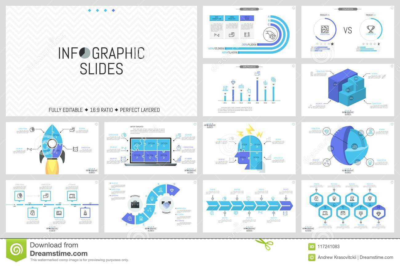 collection of minimalist infographic design templates timelines